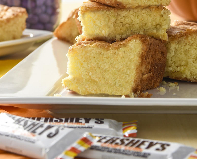 Make cake bars for fall and Halloween with candy corn
