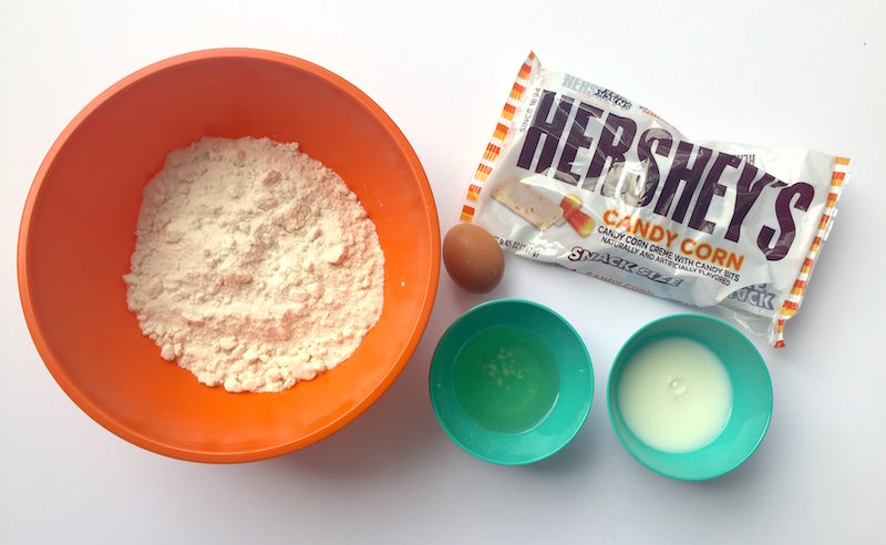 Cake mix, Hershey's candy corn candy bars, egg, oil, and milk