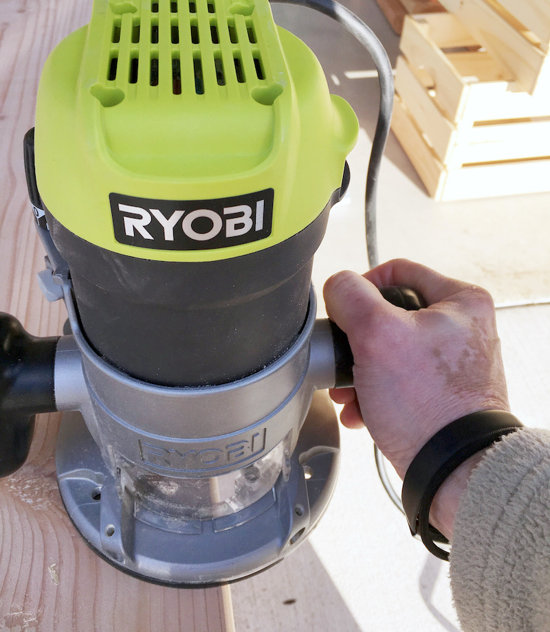 Using a Ryobi router on the edge of piece of wood