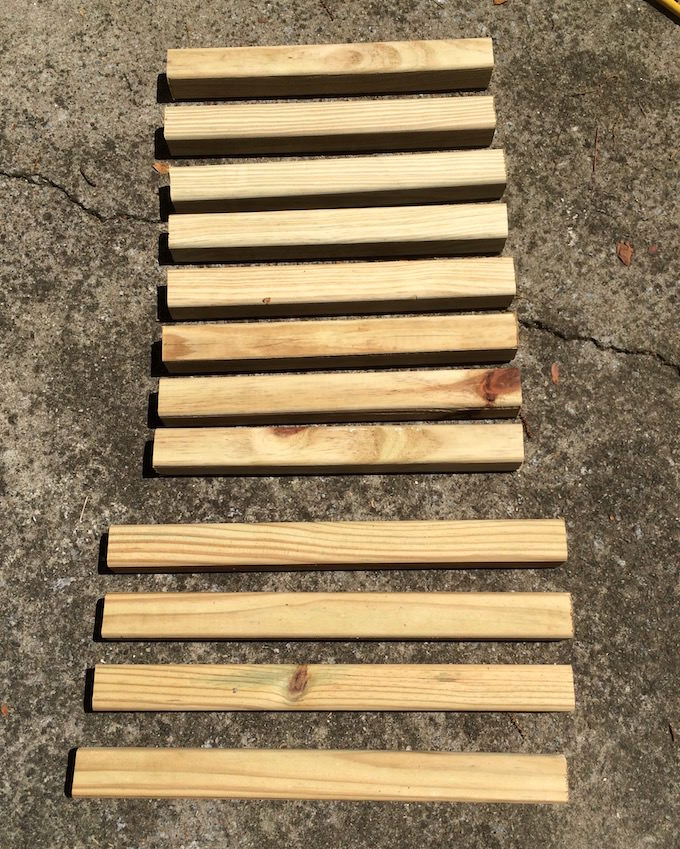 Cut 2 x 2s on the ground