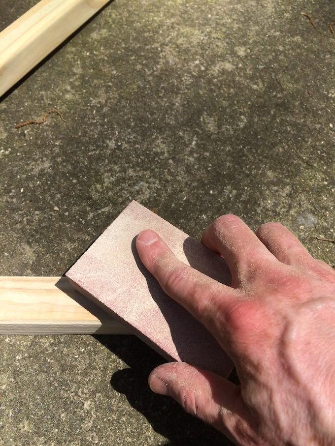 Sanding 2x2s with a sanding block