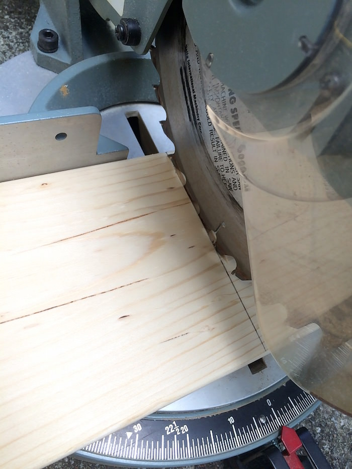 Using a circular saw to cut a 1 x 6