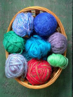 Yarn in wicker basket