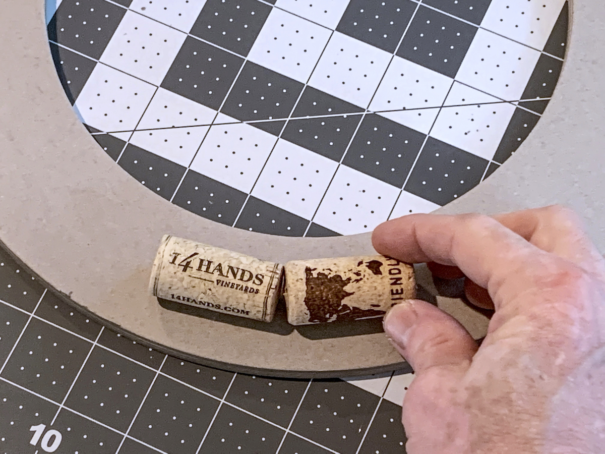 Gluing one cork next to another