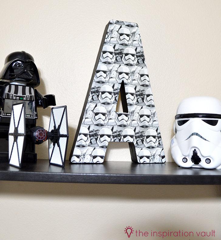Star Wars Storntrooper Mongram Letter Decoupage Craft Tutorial e1624894882983