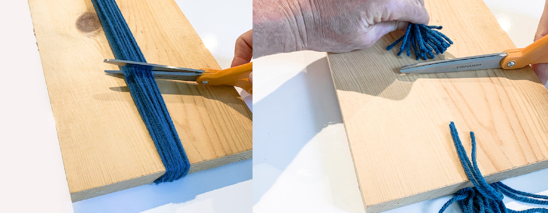 Trimming-the-yarn-on-the-board-with-scissors