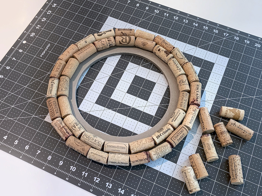 Two rings of wine corks on a wreath form