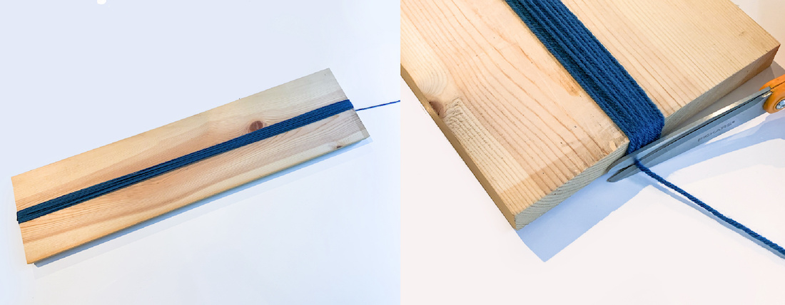 Wrapping-yarn-around-a-board-and-trimming-with-scissors