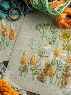 Embroidery and supplies on wooden background