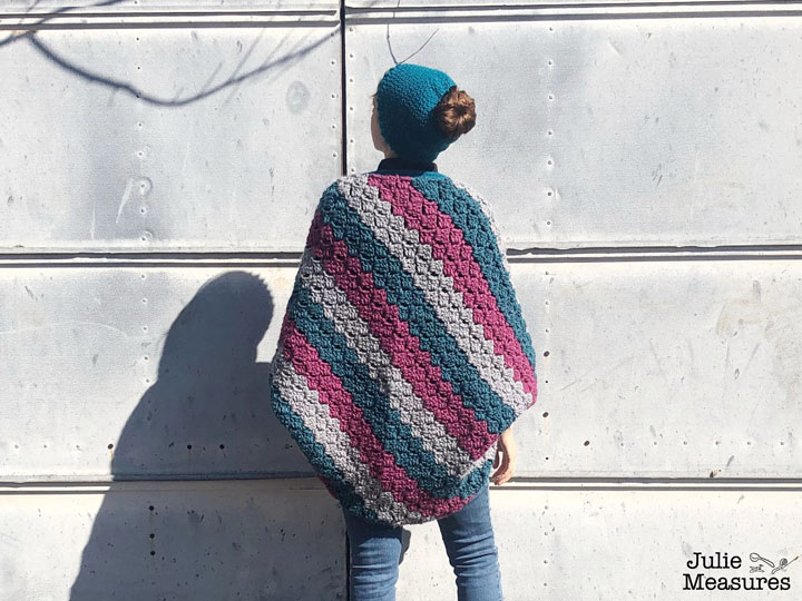 messy bun crochet blanket shawl back