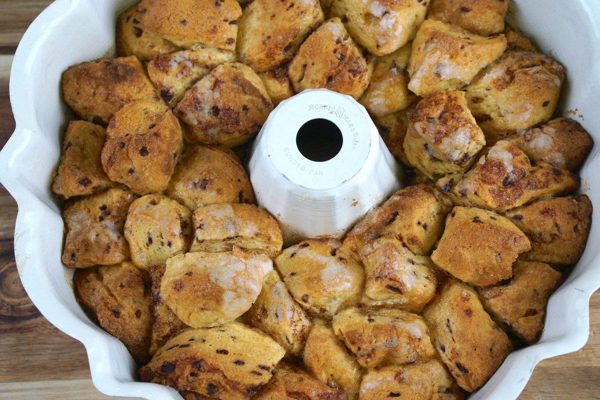 Baked pumpkin monkey bread in a bundt pan