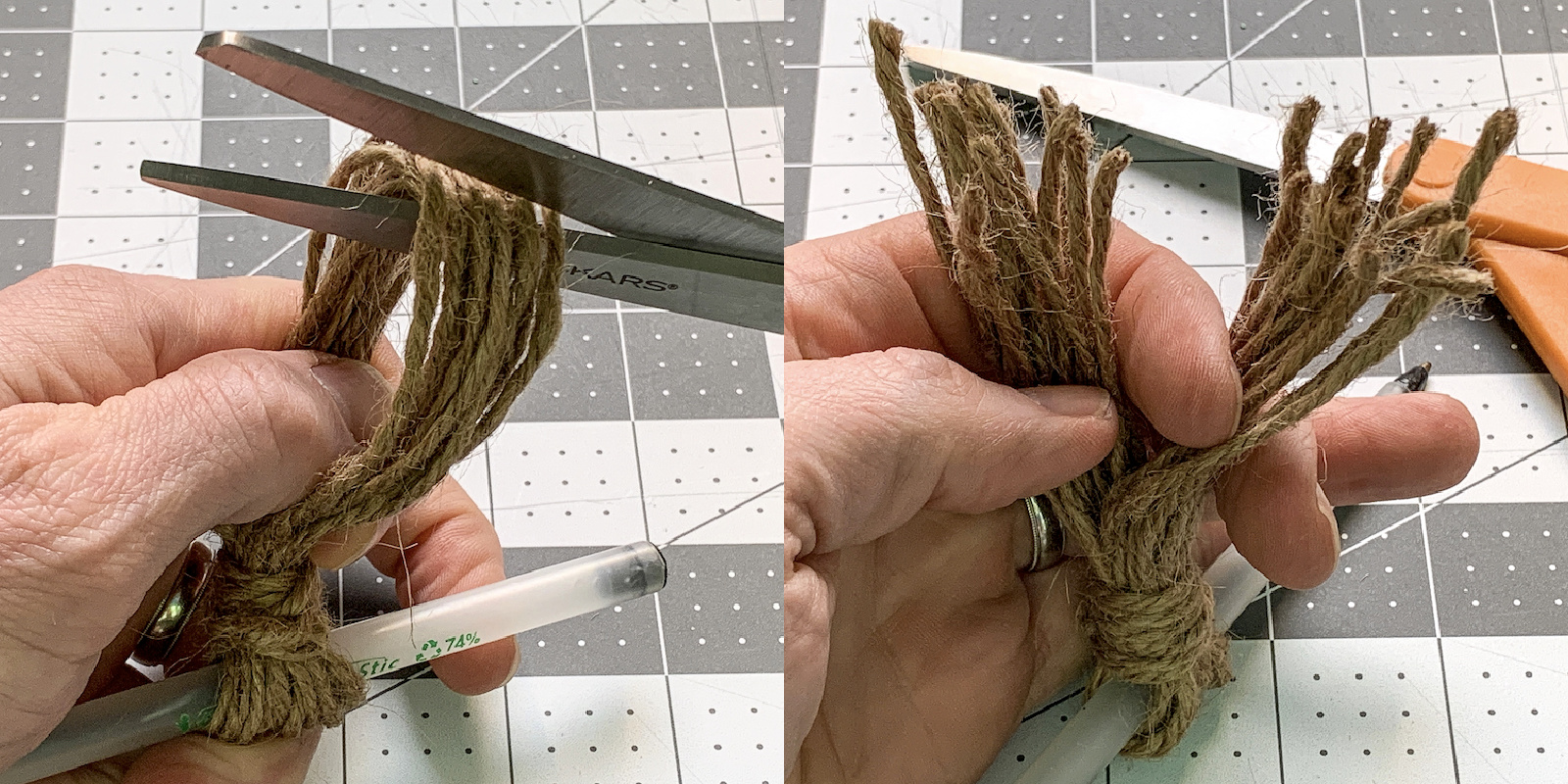 Cutting the end of a twine loop with scissors to make a tassel