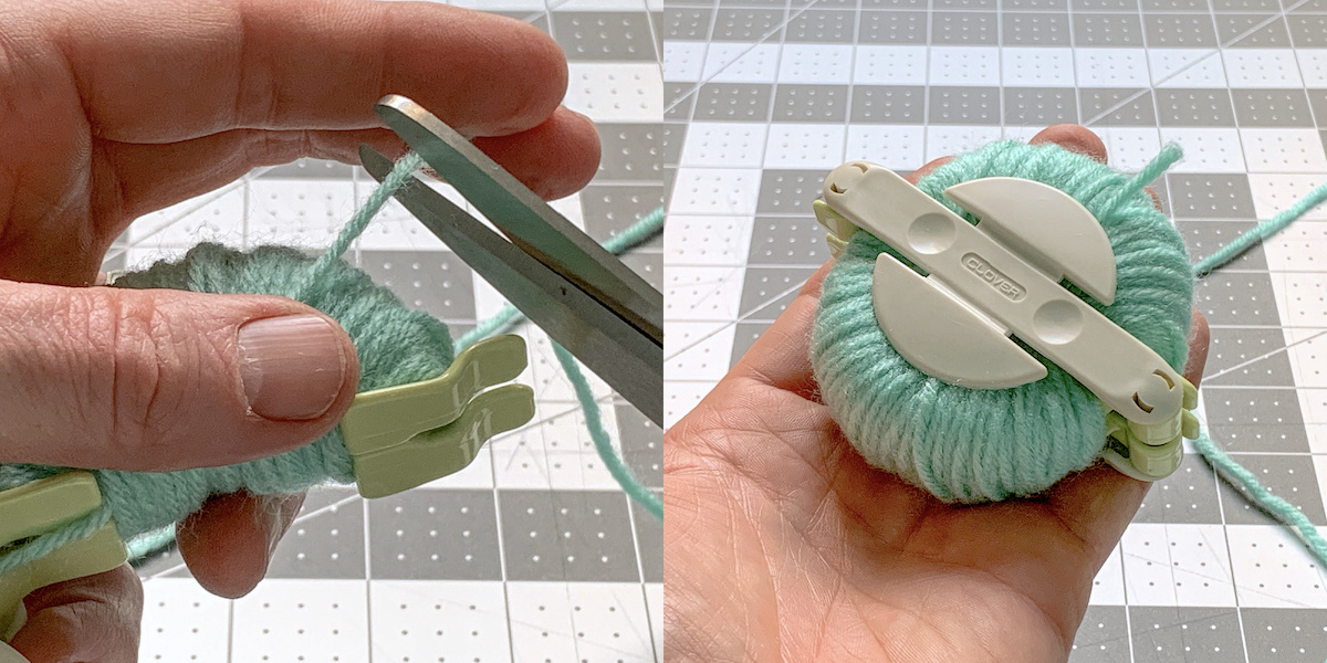 Cutting the yarn after wrapping with a pair of scissors