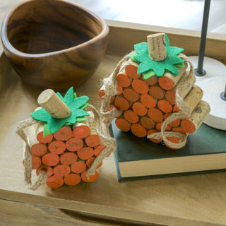 DIY cork pumpkins