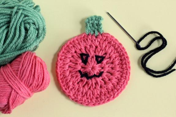 Jack o Lantern Crochet Coaster