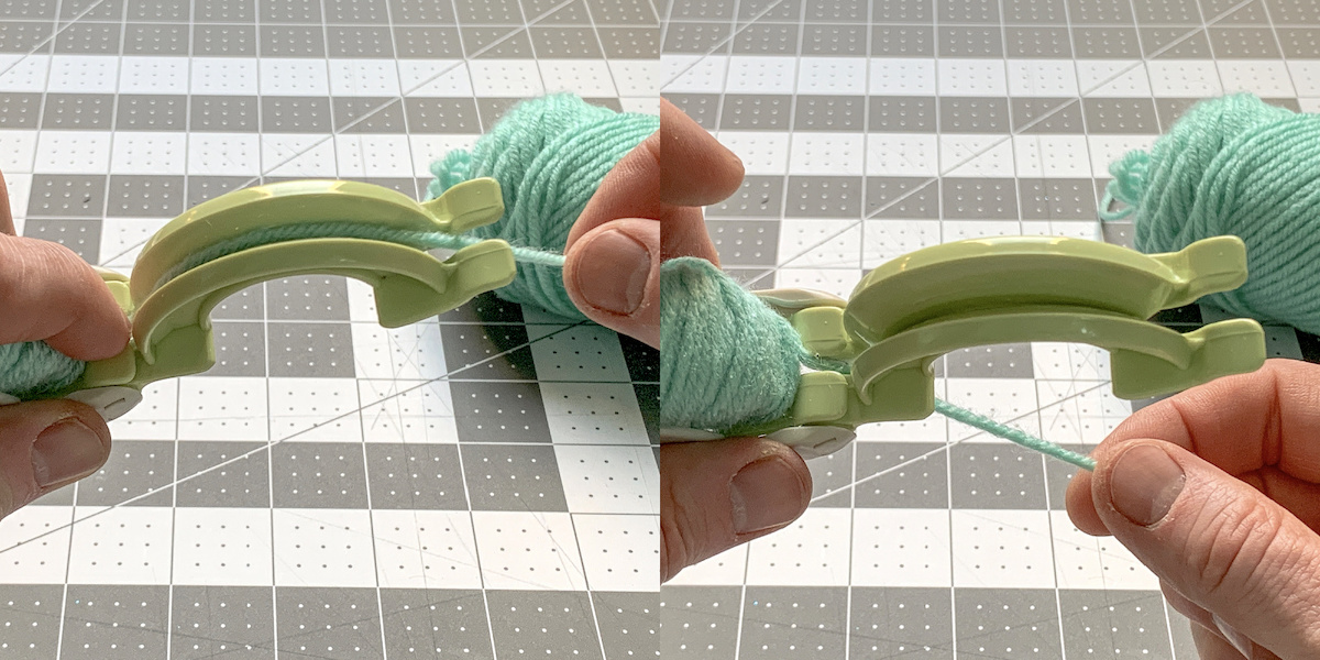 Moving yarn from one side to the other on the pom pom maker