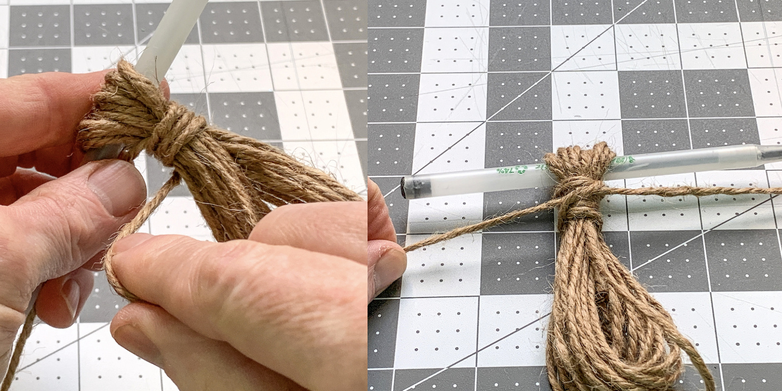 Wrapping twine around a tassel and tying a knot