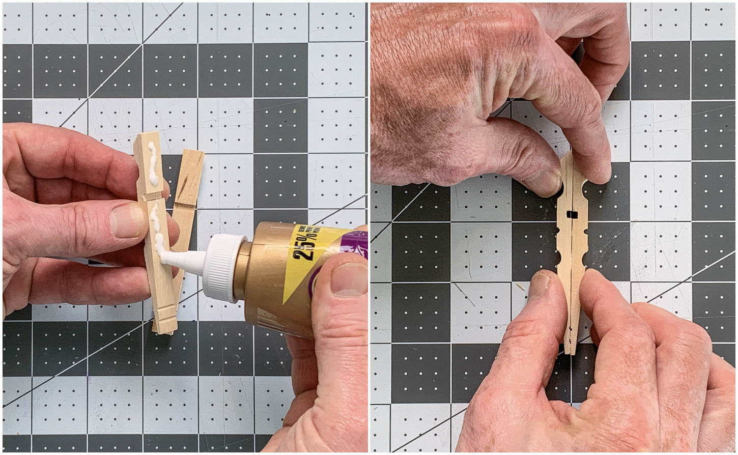 Gluing two clothespin halves together to form a butterfly body