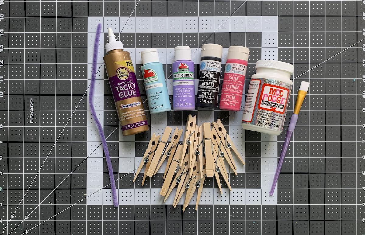 Wood clothespins acrylic paint paintbrushes