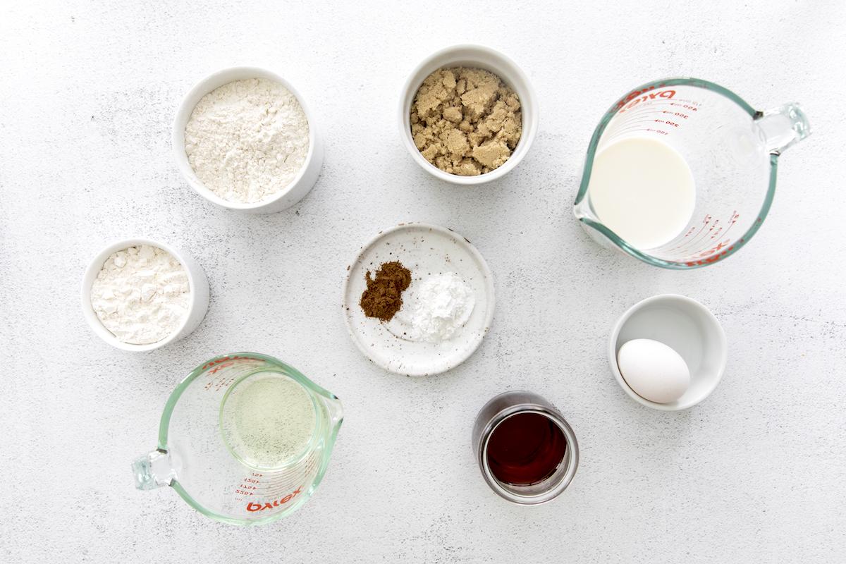 Flour, brown sugar, baking power, chai spice, milk, and oil
