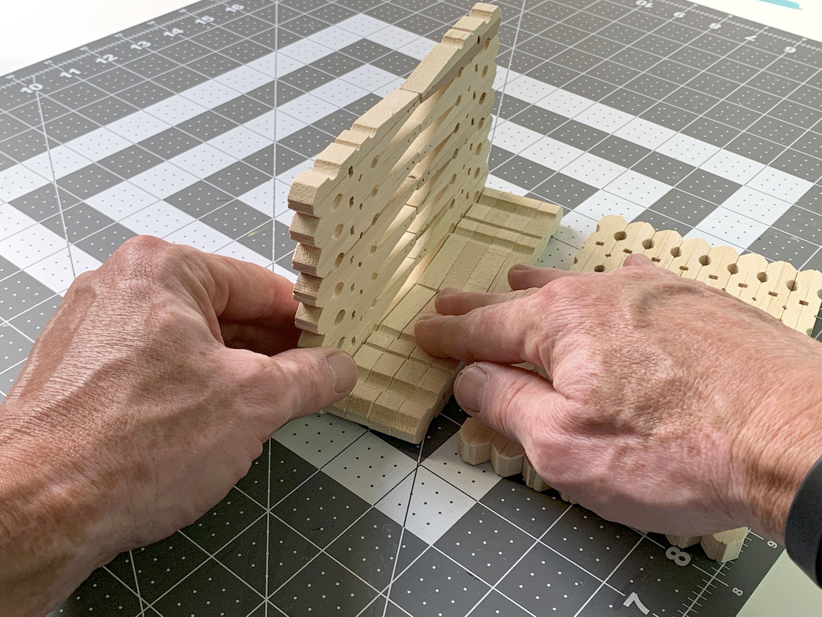 Gluing one end of the napkin holder