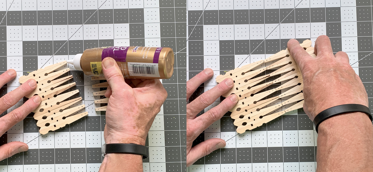 Gluing the sides of the napkin holder together