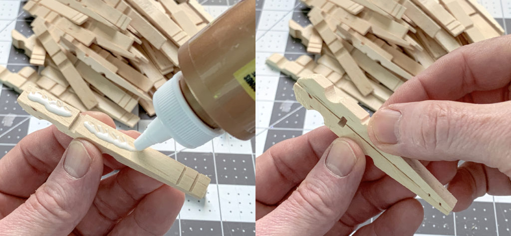 Gluing two halves of a clothespin together