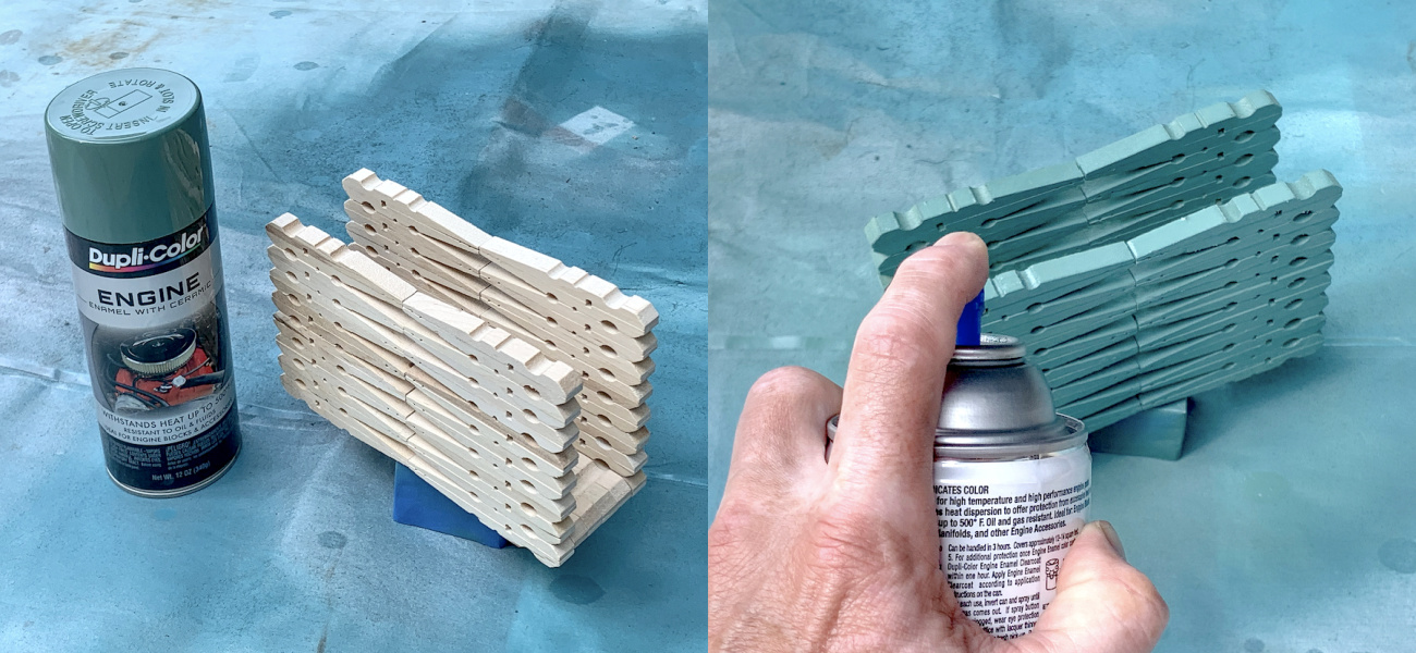 Spray painting a finished clothespin napkin holder