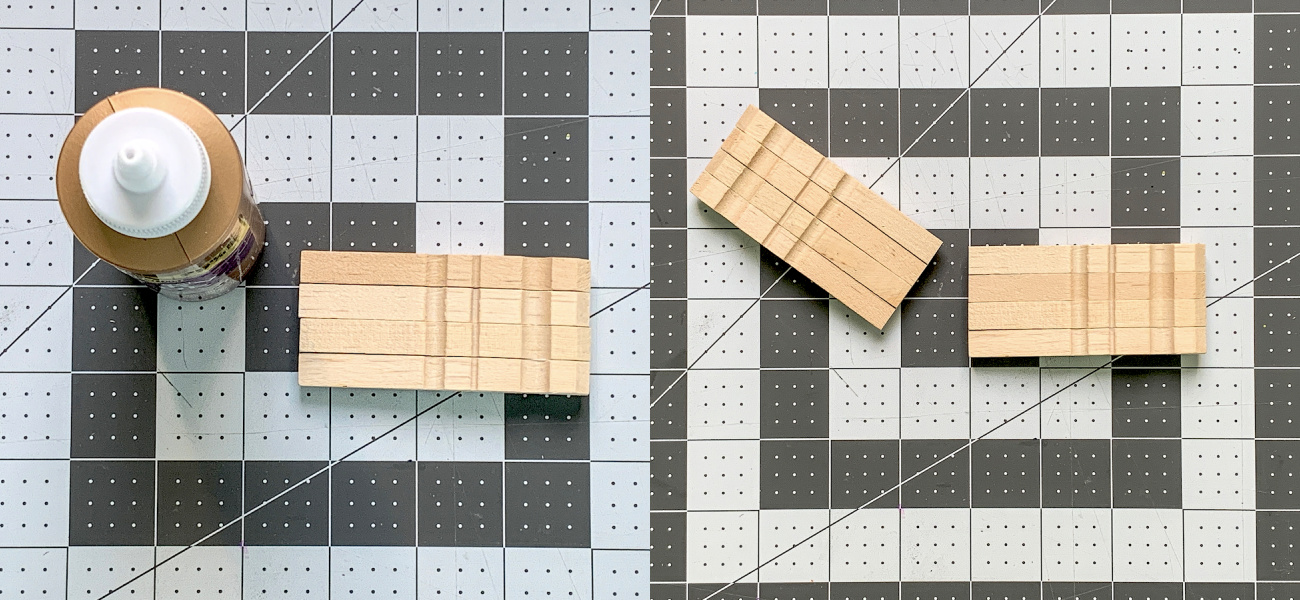 Two sets of four clothespins glued together